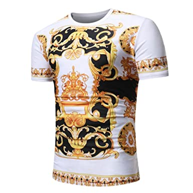 dafdc49bc20 🇦🇮Jimmkey Men Summer Casual African Print O Neck Pullover Short Sleeve T- Shirt