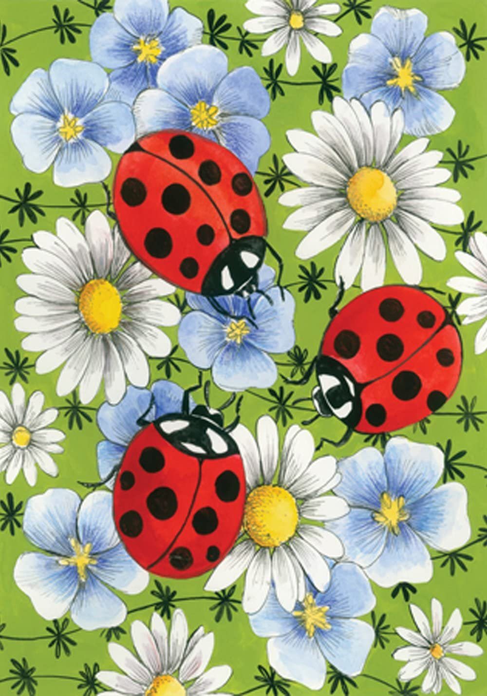 Toland Home Garden Flowers and Ladybugs 12.5 x 18 Inch Decorative Spring Daisy Flower Bug Garden Flag