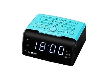 Sunstech FRD35UBL - Radio despertador, con alarma dual y pantalla LED iluminada en azul de 0.9