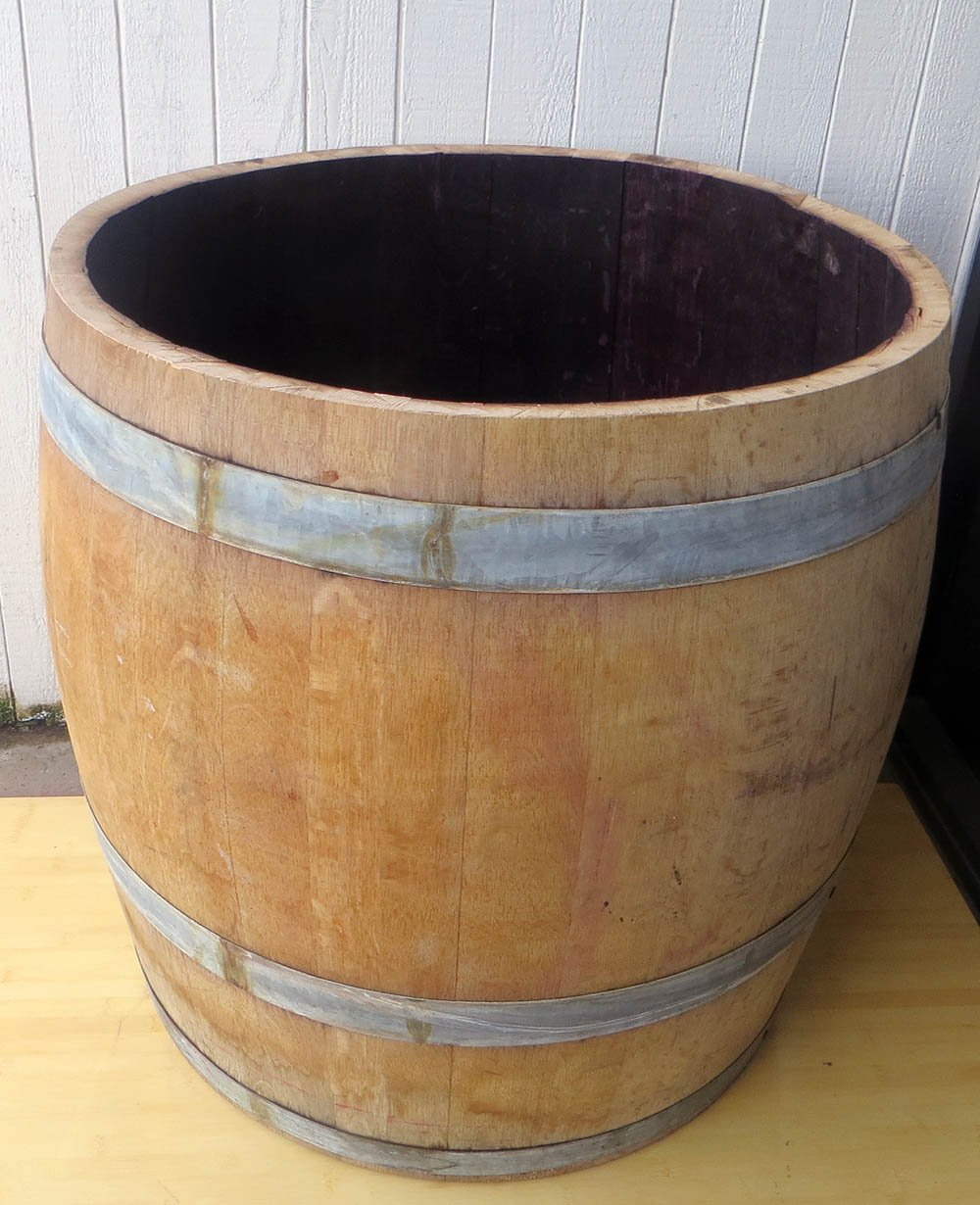 MGP Tall Genuine Urn Syle Oak Wood Barrel Planter for Tree or Shrub Planting, Cedar wood bottom, 27''H x 27''W