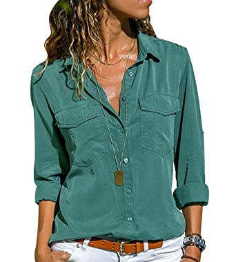 best authentic e073d e64bb Camicia Chiffon Donna Camicette Oversize Camicie Manica Lunga Scollo V  Blusa Cerimonia Signora Eleganti Camicetta Bluse Larghe Elegante Camicioni  ...