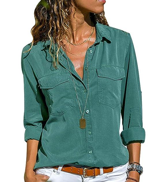5ee0f14131e4 Camicia Chiffon Donna Camicette Oversize Camicie Manica Lunga Scollo V  Blusa Cerimonia Signora Eleganti Camicetta Bluse Larghe Elegante Camicioni  Stretch ...
