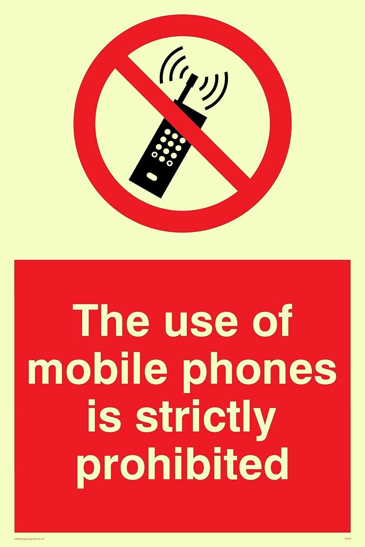 Viking signos pv50-a4p-pvEl uso de tel/éfonos m/óviles est/á estrictamente prohibido se/ñal adhesivo photoluminescent 300/mm H x 300/mm W