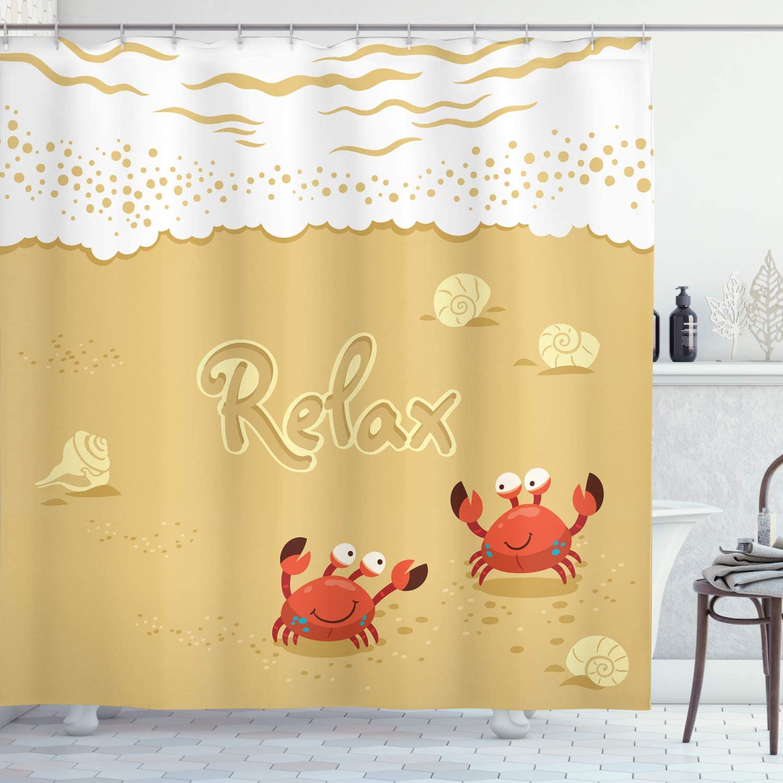 Beach Shower Curtain Summer Season Vacation Print for Bathroom