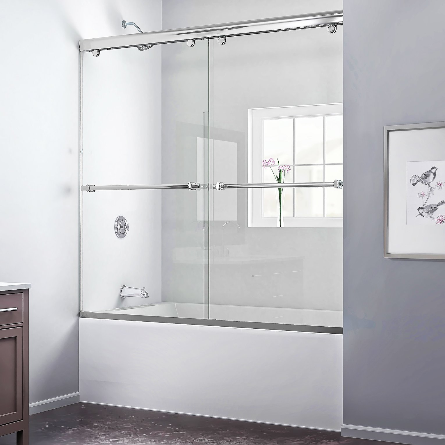 DreamLine Charisma 28-32 in. D x 56-60 in. W Kit, with Bypass Sliding Tub Door in Chrome and White Acrylic Backwalls by DreamLine