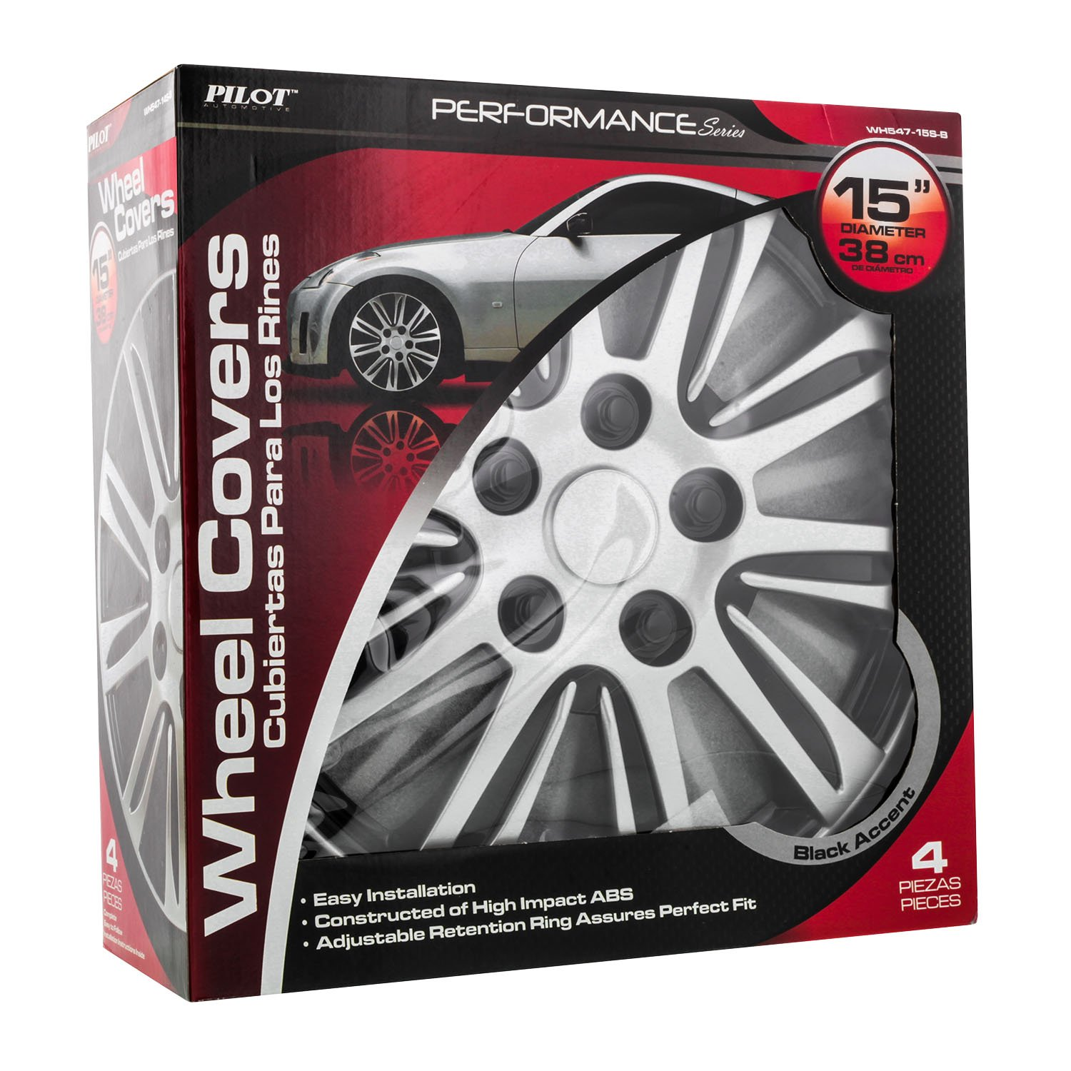 Pilot WH547-16S-B Universal Fit Premier Toyota Camry Style Silver 16 Inch Wheel Covers Set of 4