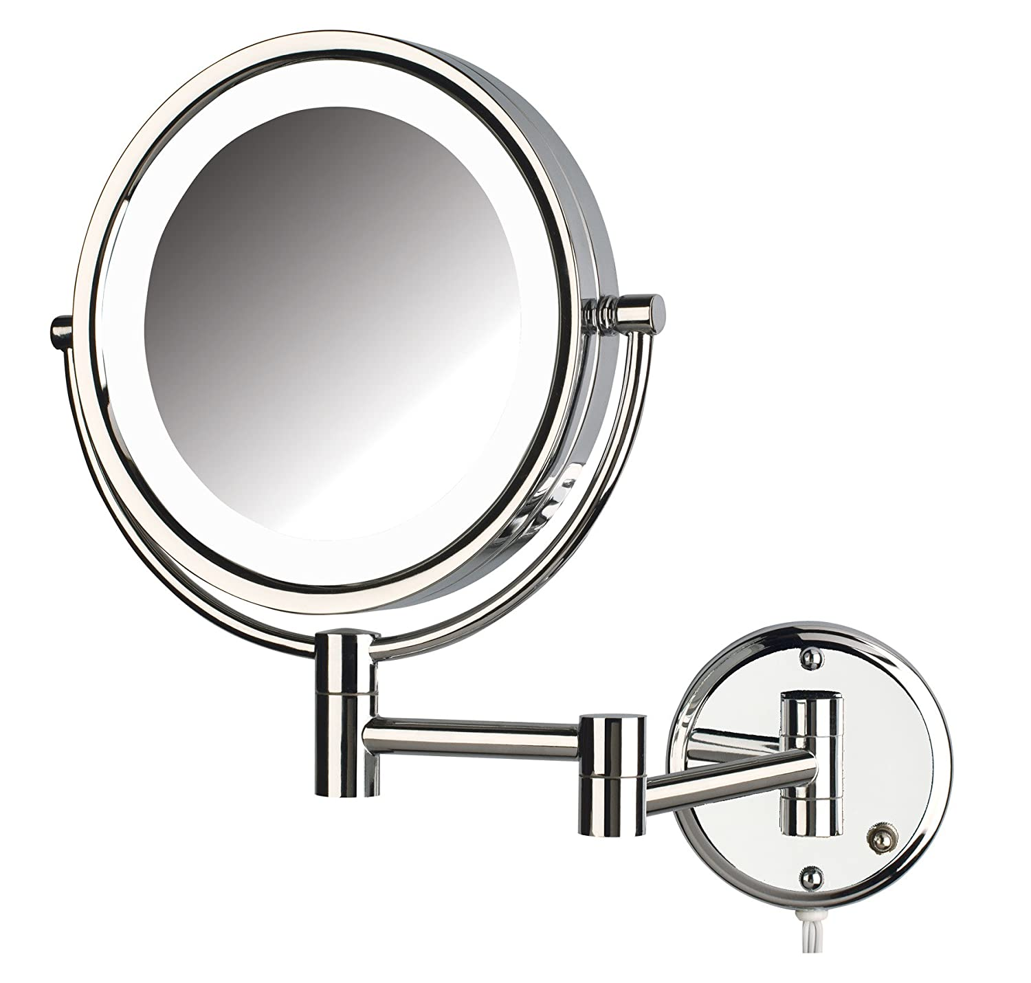 Jerdon HL88NL Two-Sided Swivel LED Lighted Wall Mount Mirror with 8x Magnification Nickel Finish, 8.5-Inch, 64.8-Ounce