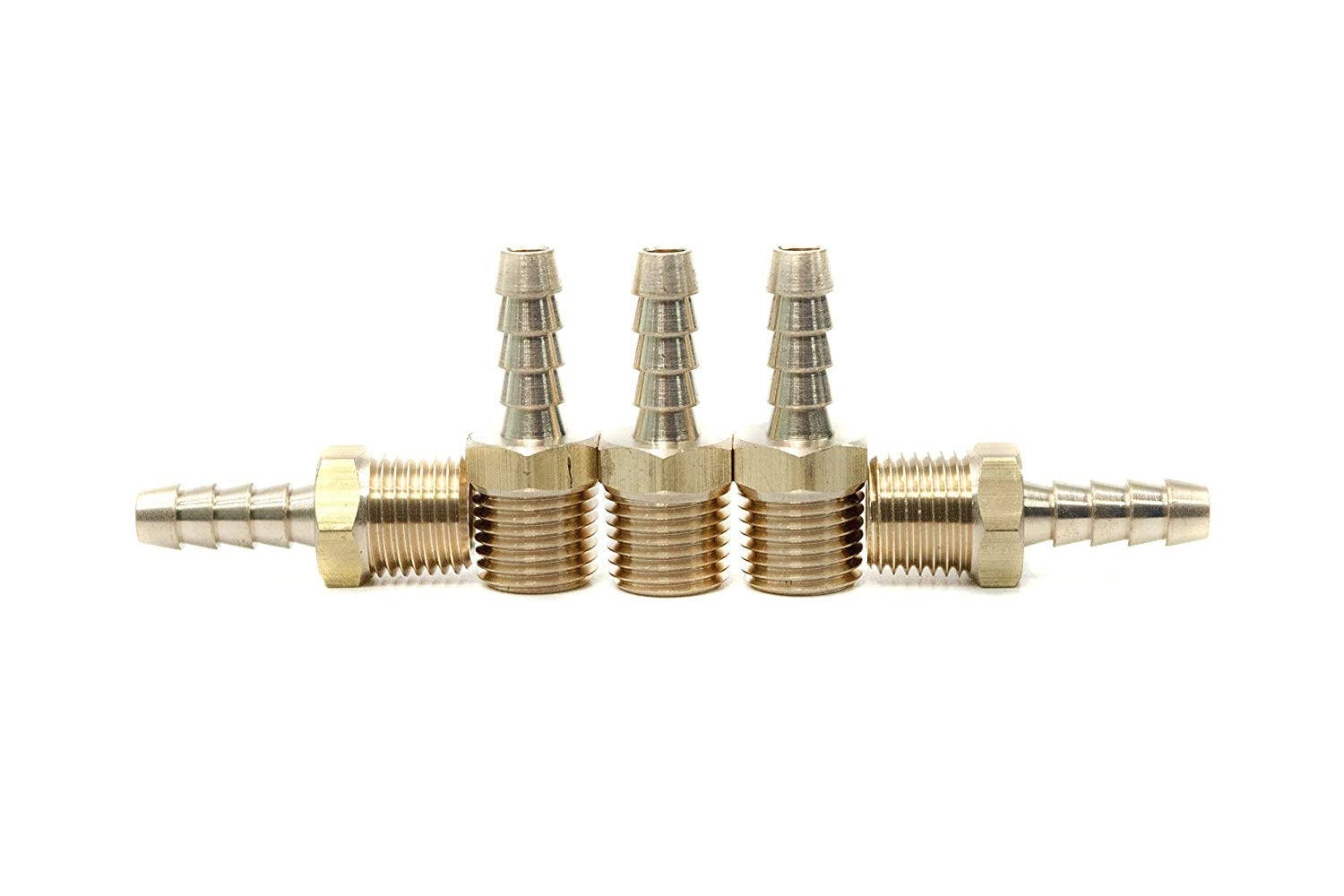 LTWFITTING Brass Fitting Coupler 1/4-Inch Hose Barb x 1/4-Inch Male NPT Fuel Gas Water(Pack of 5)