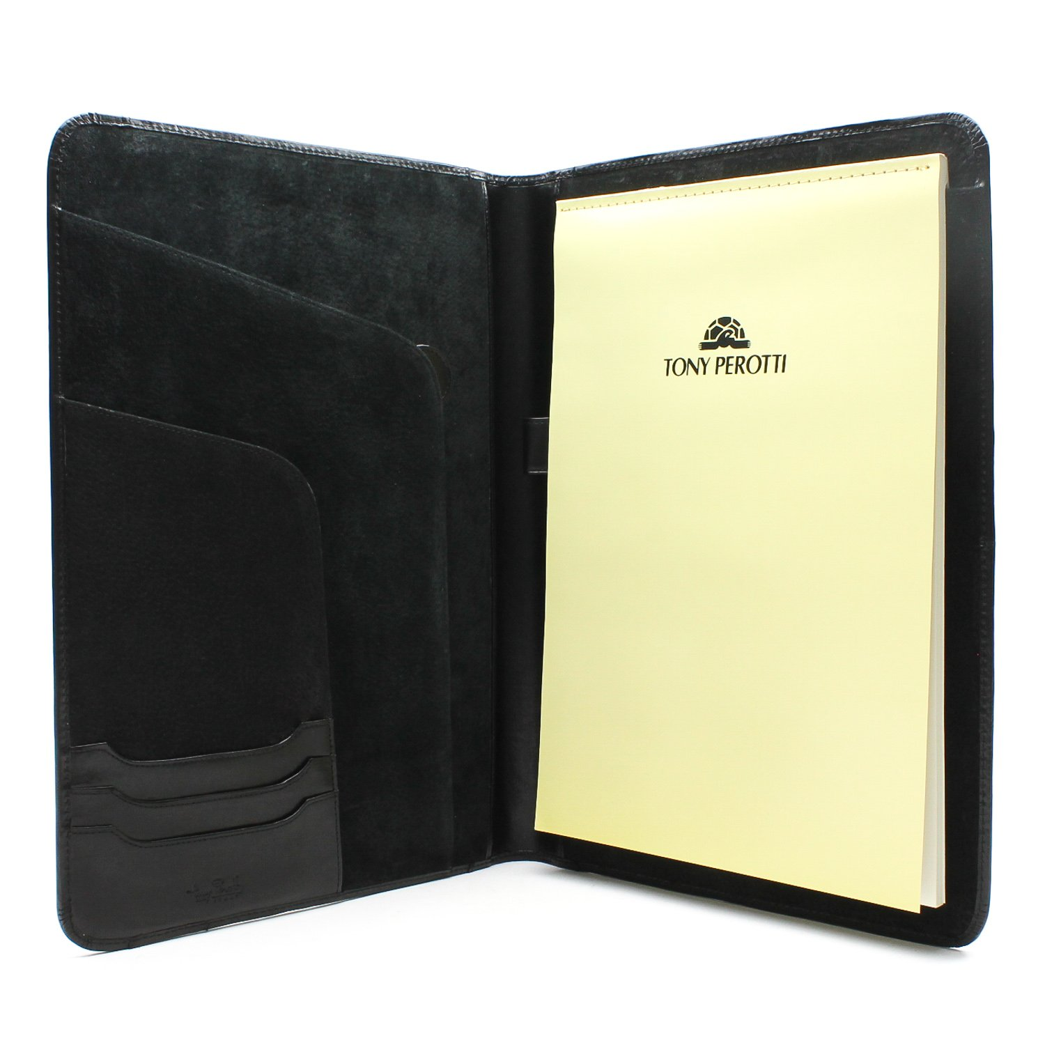 Tony Perotti Unisex Italian Bull Leather Express Business 8.5'' x 11'' Writing Padfolio in Black