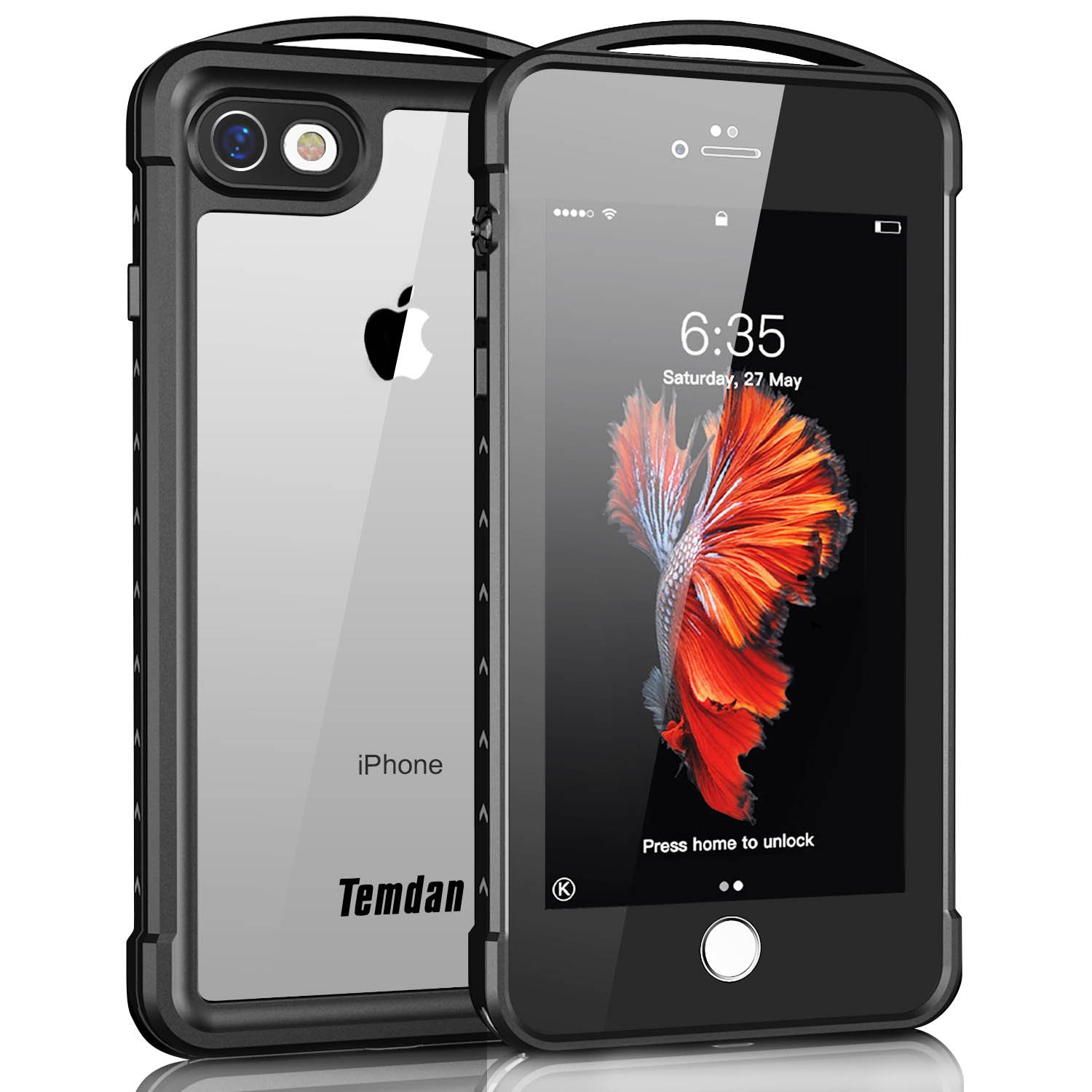 iPhone 7/8 Waterproof Case, Temdan Supreme Series Waterproof Case with Carabiner Built in Screen Protector Outdoor Rugged Shockproof Clear Case for iPhone 7 and iPhone 8 (4.7 inch) by Temdan (Image #1)