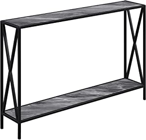 Convenience Concepts Tucson Console Table, Gray Marble/Black