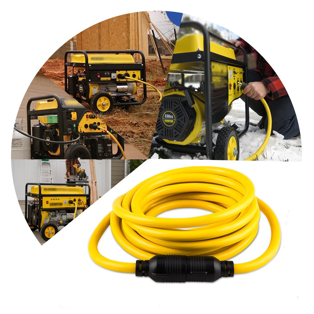 Yodotek 10 Feet Heavy Duty Generator Locking Power Cord NEMA L14-30P/L14-30R,4 Prong 10 Gauge SJTW Cable, 125/250V 30Amp 7500 Watts Yellow Generator Lock Extension Cord UL Listed by Yodotek (Image #5)