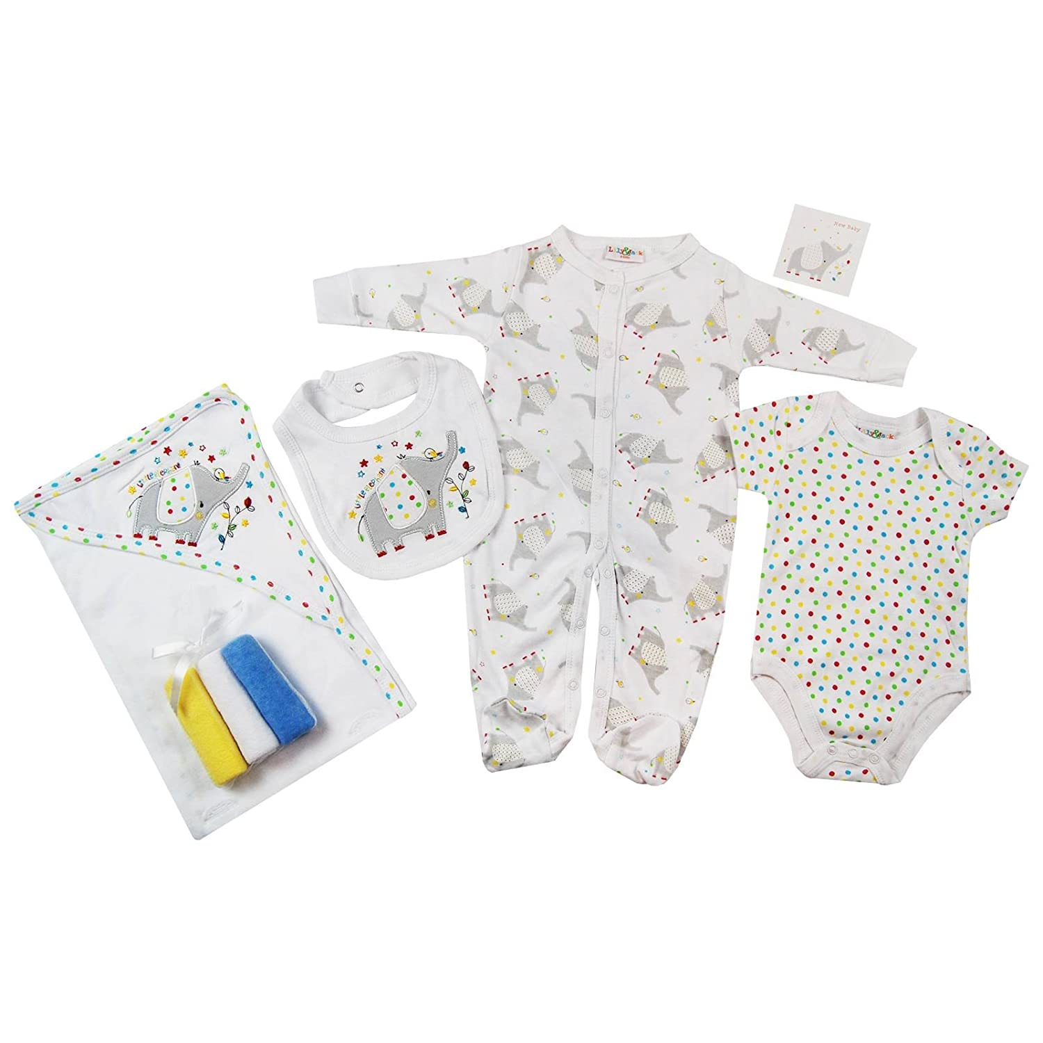 Presents Gifts For Newborn Baby Boys Girls Toddler Unisex Cute Clothing Sets Newborn Outfits Bundles Pack Elephant Animals First Christmas Xmas Christening From Aunty Uncle Grandma