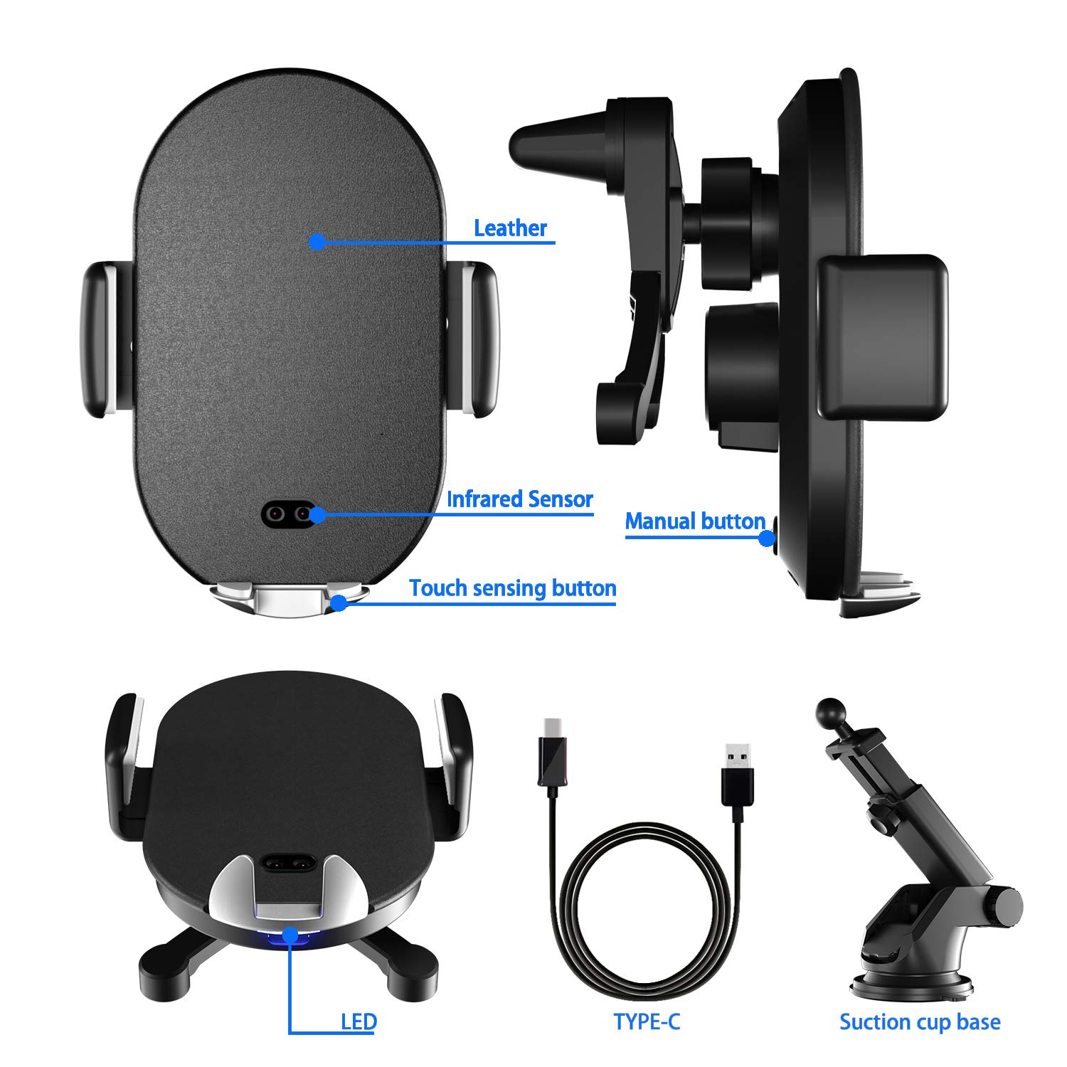 Black Qi Wireless Car Phone Holder,YIMIKE Induction Automatic Clamping Wireless Mobile Cellphone Air Vent /& Windshield Dashboard Car Mount 10W for S10//S9//S8//S8 Plus,7.5W for iPhone XS//XR//X//8//8
