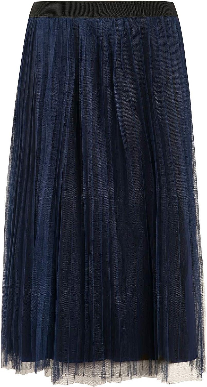 PYW Womens Long Pleated Tulle Skirt A Line Elastic Waist Mesh Tulle Midi Skirt (Black, M) at  Women's Clothing store