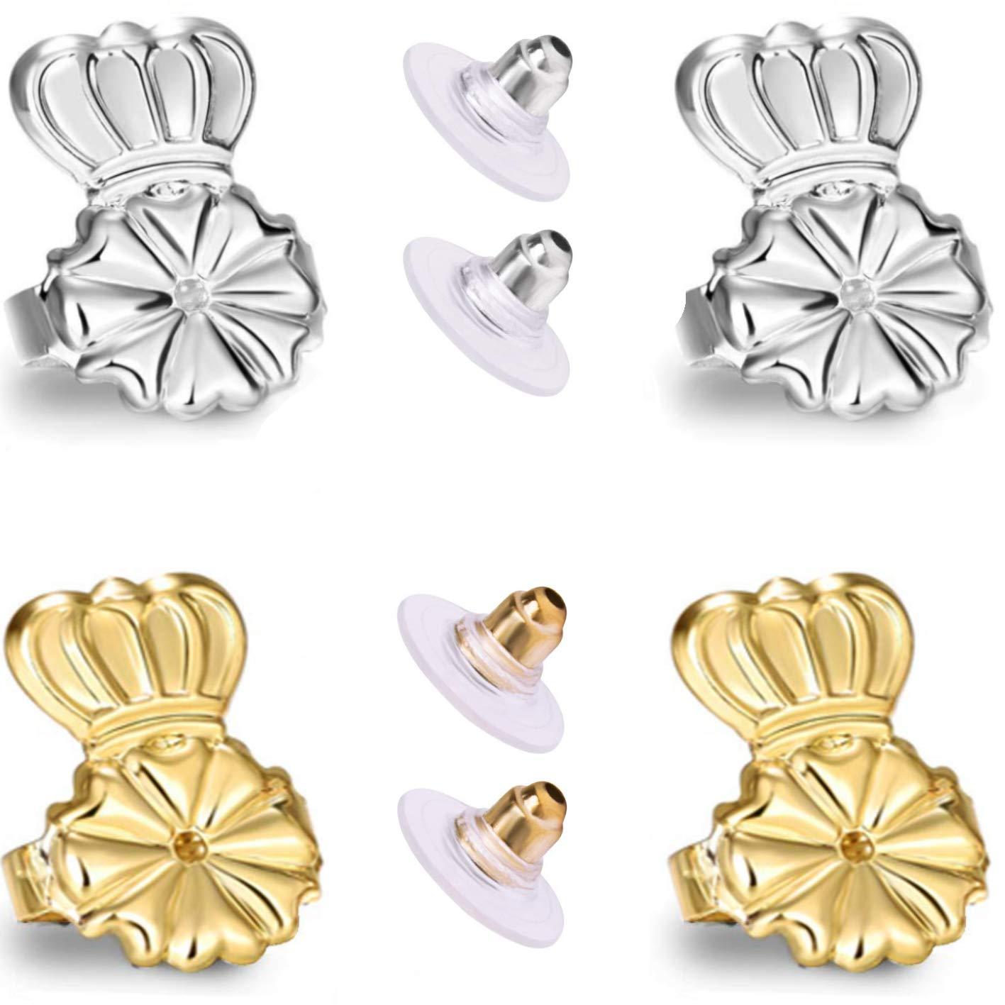 AmzonBasics - Original Magic Earring Lifters Adjustable Earring Lifts Earring Backs Bullets and Patches 2 Pairs Earring Lifters + 2 Earring Bullets Backs Gold/Silver (2 Lifters + 2 Bullets) by CROCODILOO KIDS