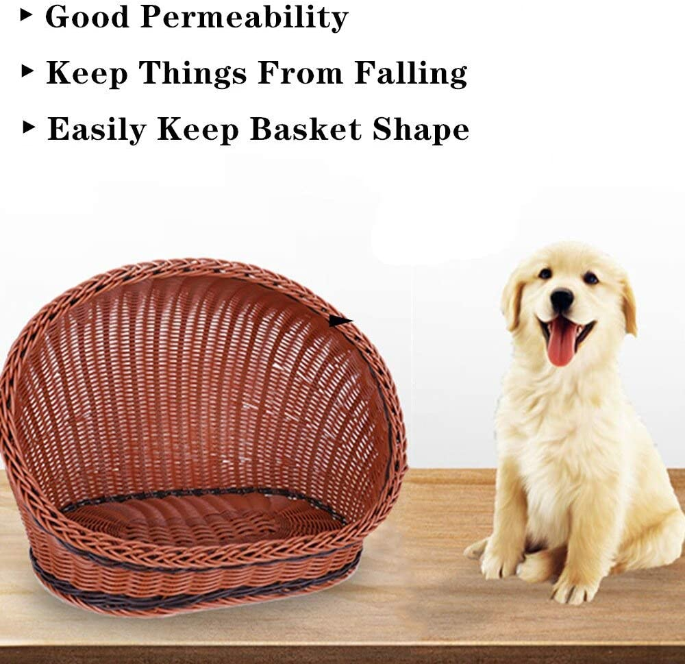 HUAHOO Pet Rattan Bed Four Seasons Comfortable Cat Dog House Washable Covered Modern Dog Cat Hedeaway Hut of Rarran House Pets in Dome Basket