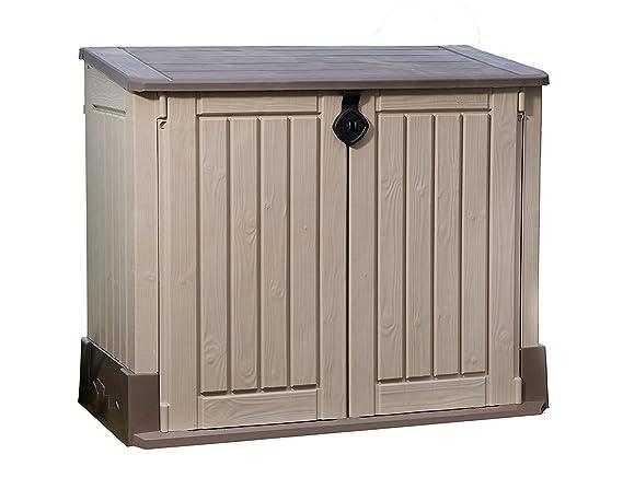 Cobertizo de almacenamiento fabricado en resina para exterior, jardín– Beige/Marrón: Amazon.es: Hogar