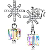 Kate Lynn Women's Sterling Silver ❤️Melting Snowflake❤️ Stud Earrings for Her with Gift Box, Soft Cloth