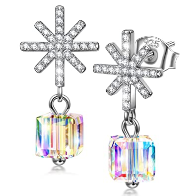 80c52e67c Kate Lynn Earrings for Women Jewelry Gift Women's Sterling Silver Colorful  Crystals from Swarovski Snowflake Hypoallergenic