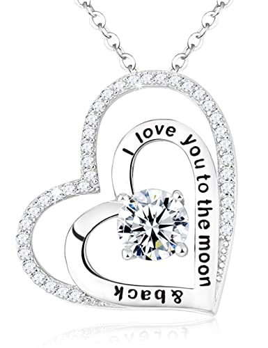 2ae4d34ae0 Elda&Co I Love You to The Moon and Back Double Love Heart Pendant April Birthstone  Necklace