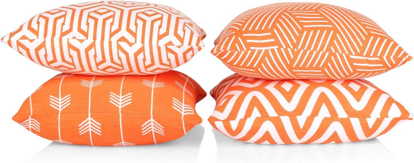 Penguin Home 3436 Juego de 4 Fundas de coj/ín cuadradas Decorativas de Doble Cara con Cremallera Invisible Color Naranja y Blanco 45 X45 X1 cm Algod/ón 45 x 45 x 1 cm 45 x 45 x 45 cm
