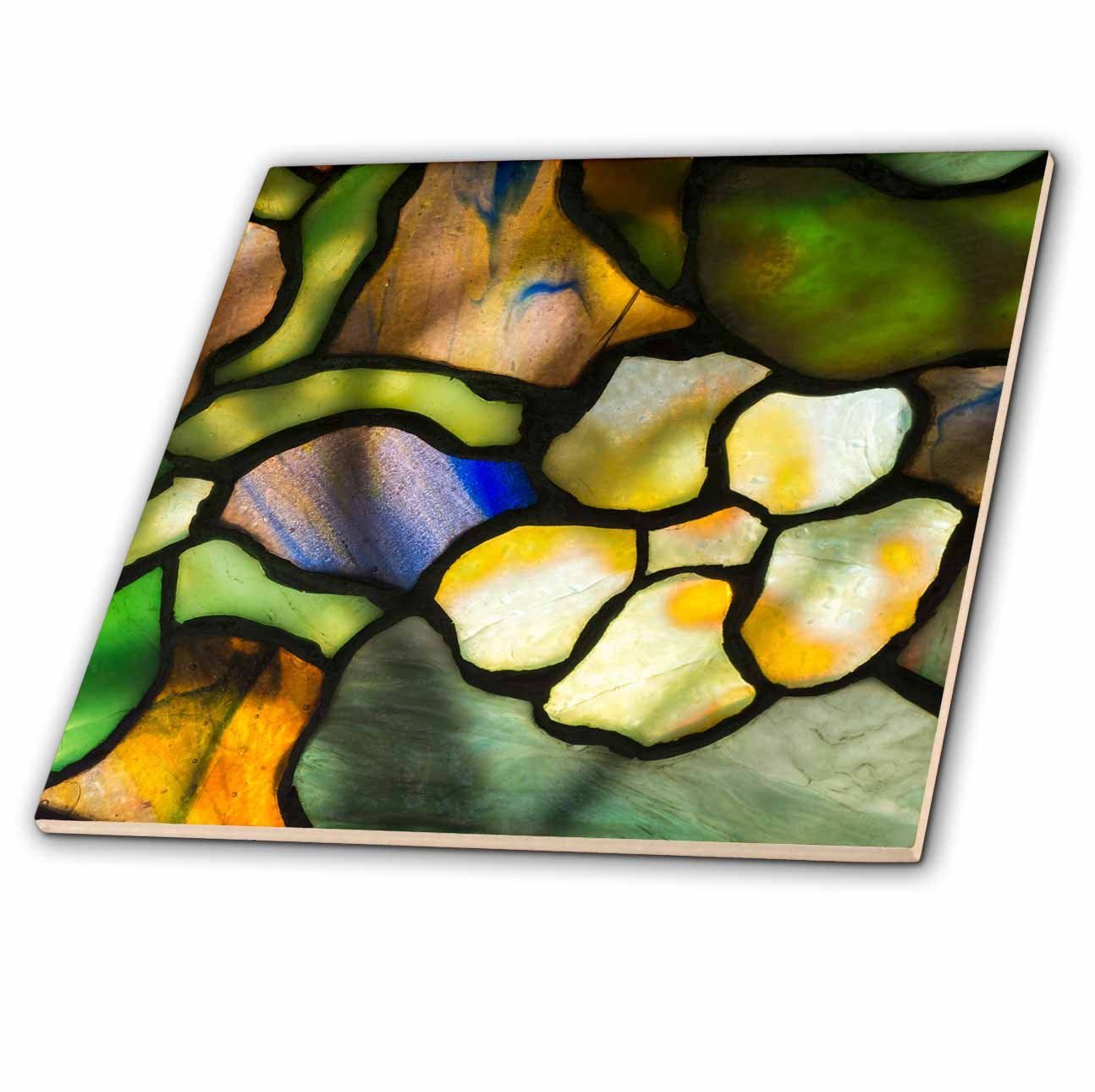 3dRose Danita Delimont - Artwork - New York, Tiffany stained glass lamp shade. - 4 Inch Ceramic Tile (ct_279255_1)