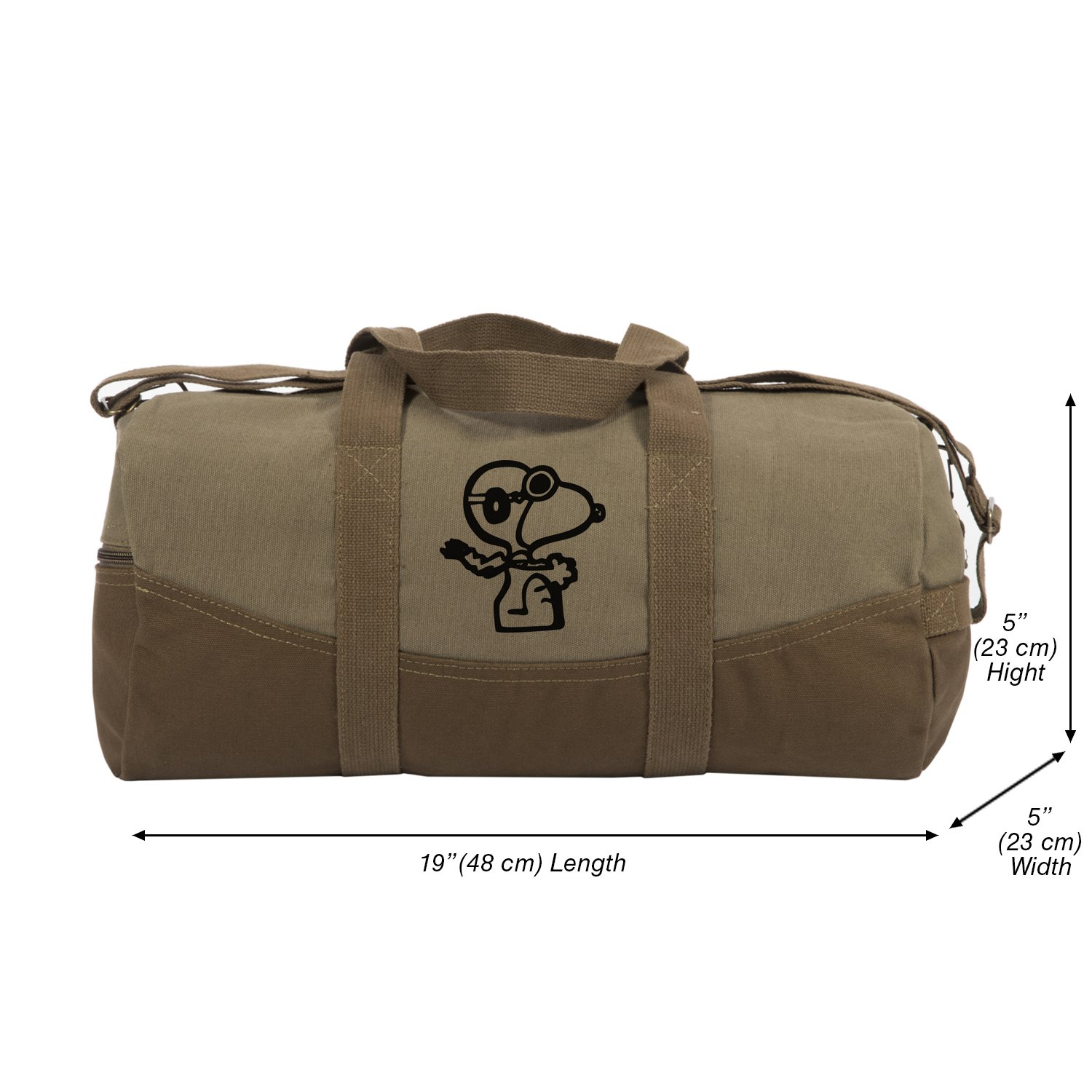Snoopy Flying Ace Canvas Duffel Bag, Two Tone Brown & Blk with Detachable Strap