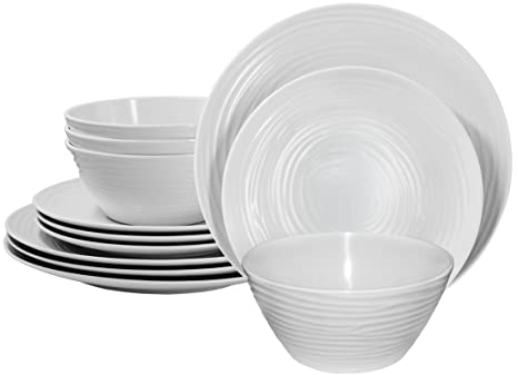 d8eede7c922 Image Unavailable. Image not available for. Color  Parhoma White Melamine  Home Dinnerware Set ...