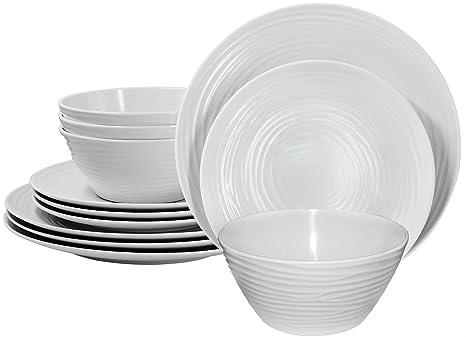 Parhoma White Melamine Home Dinnerware Set 12-Piece Service for 4  sc 1 st  Amazon.com & Amazon.com | Parhoma White Melamine Home Dinnerware Set 12-Piece ...
