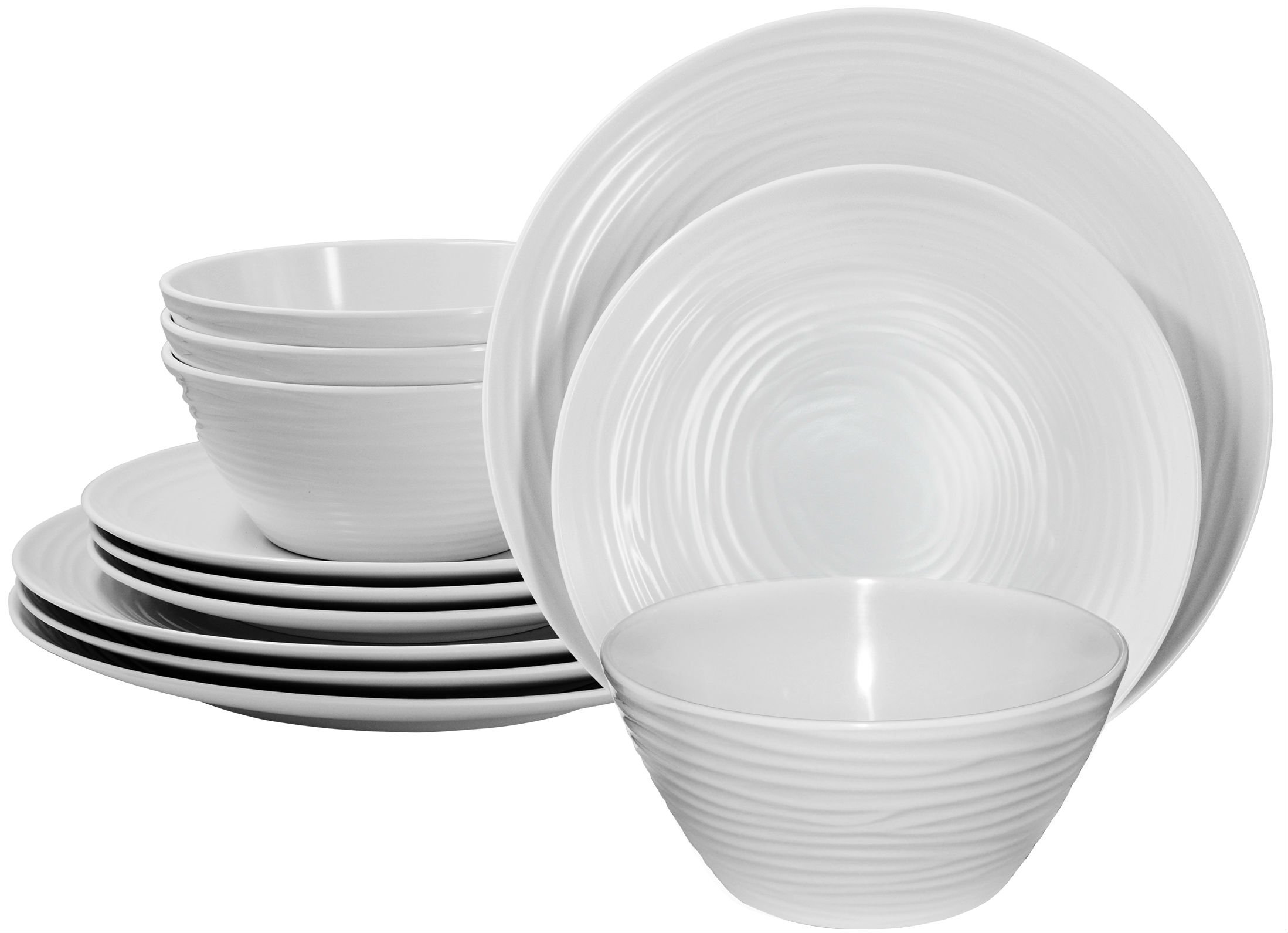 Parhoma White Melamine Home Dinnerware Set, 12-Piece Service for 4 by Parhoma (Image #1)