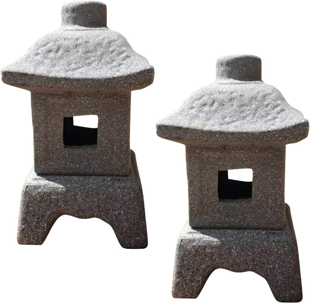 """Zen Garden Decor - Japanese Lantern - 4.72"""" x 4.33"""" x 8.27"""" Pagoda Stone Decor w/ Detachable Top - Japanese Garden Sculptures - Fairy Garden Outdoor Light - Candle Holder Patio Decor - 2 Pack"""