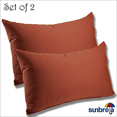 Comfort Classics Inc. Set of 2-22x12x4 Sunbrella Indoor/Outdoor Fabrics Lumbar Pillows in Henna : Garden & Outdoor
