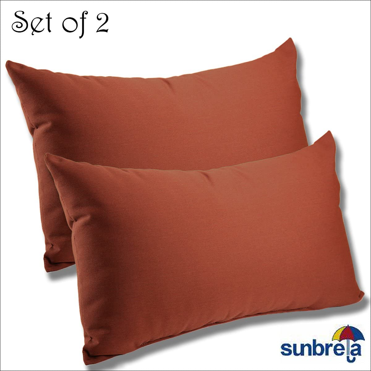 SET OF 2-22x12x4 Sunbrella Indoor Outdoor Fabrics LUMBAR PILLOWS in Henna by Comfort Classics Inc.