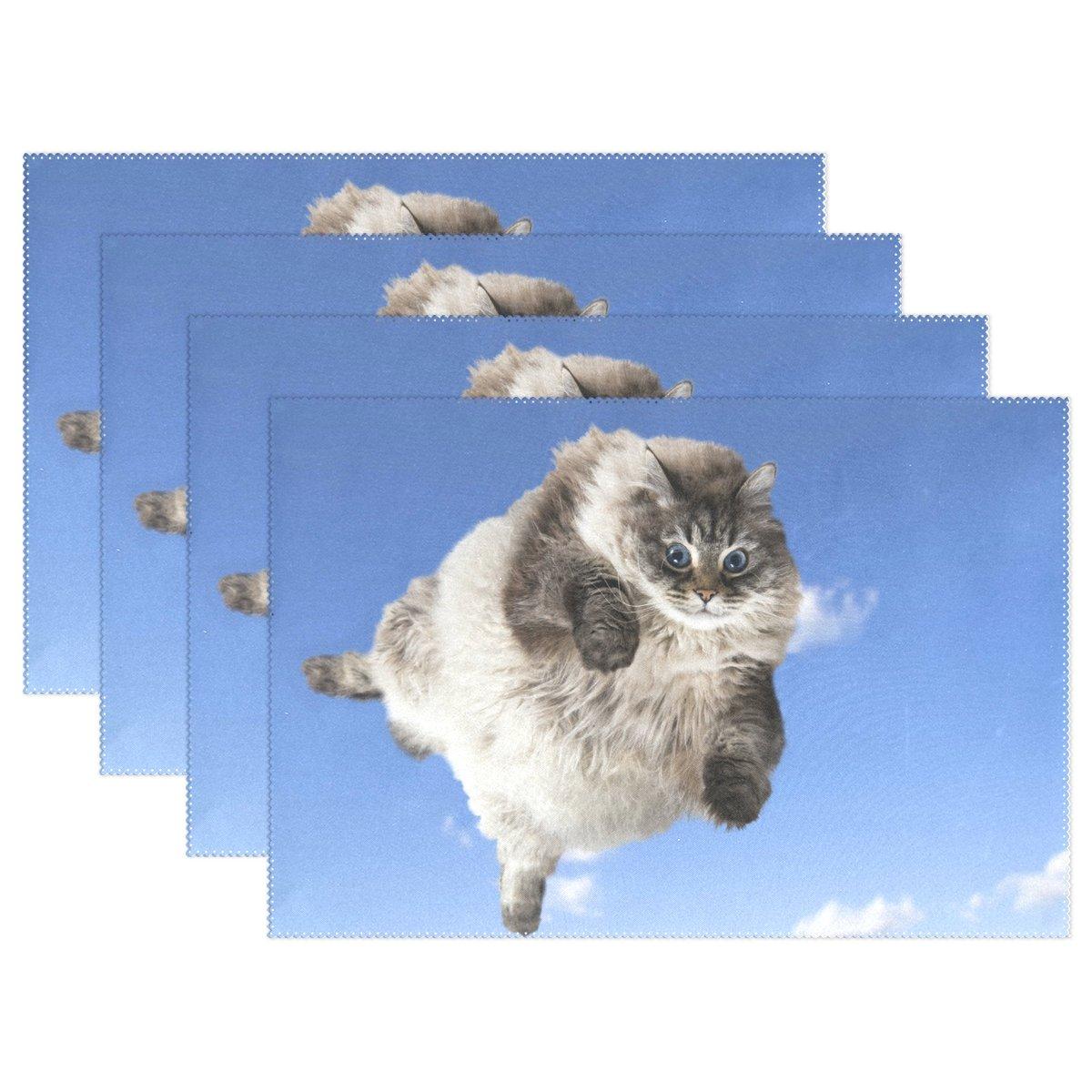 Wozo Funny Fat Cat Kitten Blue Skyプレースマットテーブルマット12