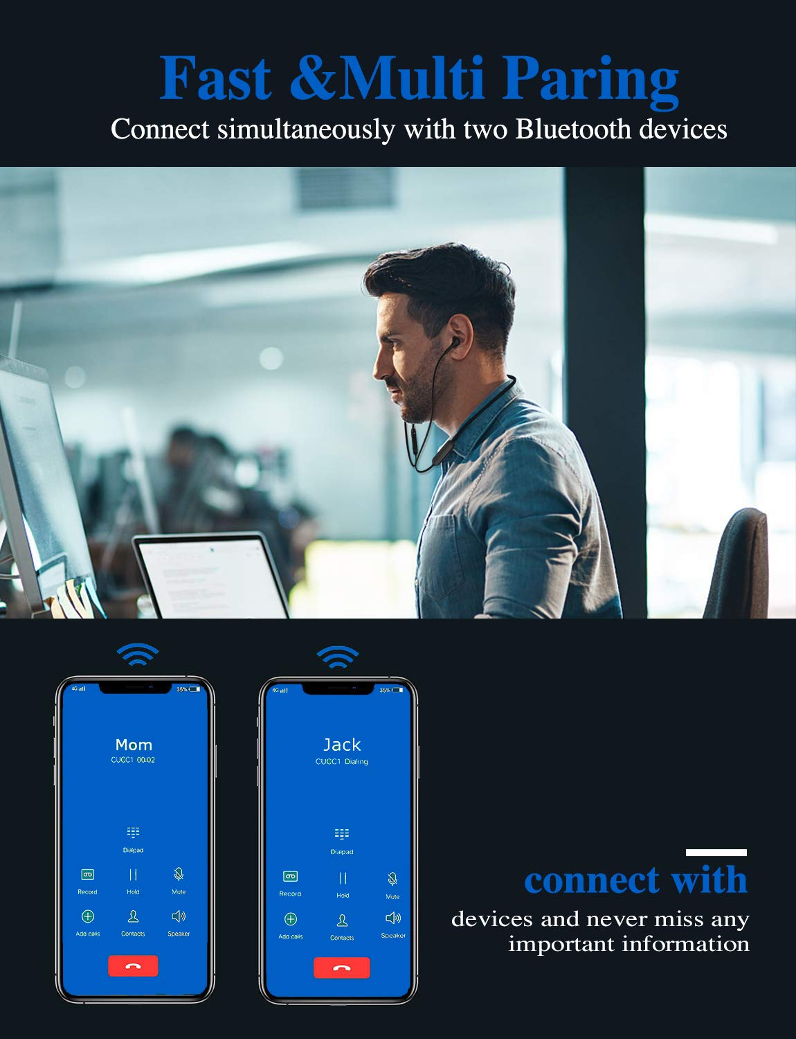 Wireless Headphones Bluetooth Earbuds Waterproof Bluetooth 5.0 Stereo Sound CVC Noise/Cancelling Magnetic in-Ear Headsets with Mic