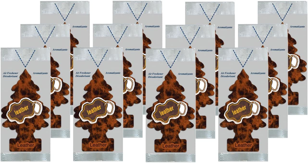 LITTLE TREES Car Air Freshener   Hanging Paper Tree for Home or Car   Leather Scent   12 Pack