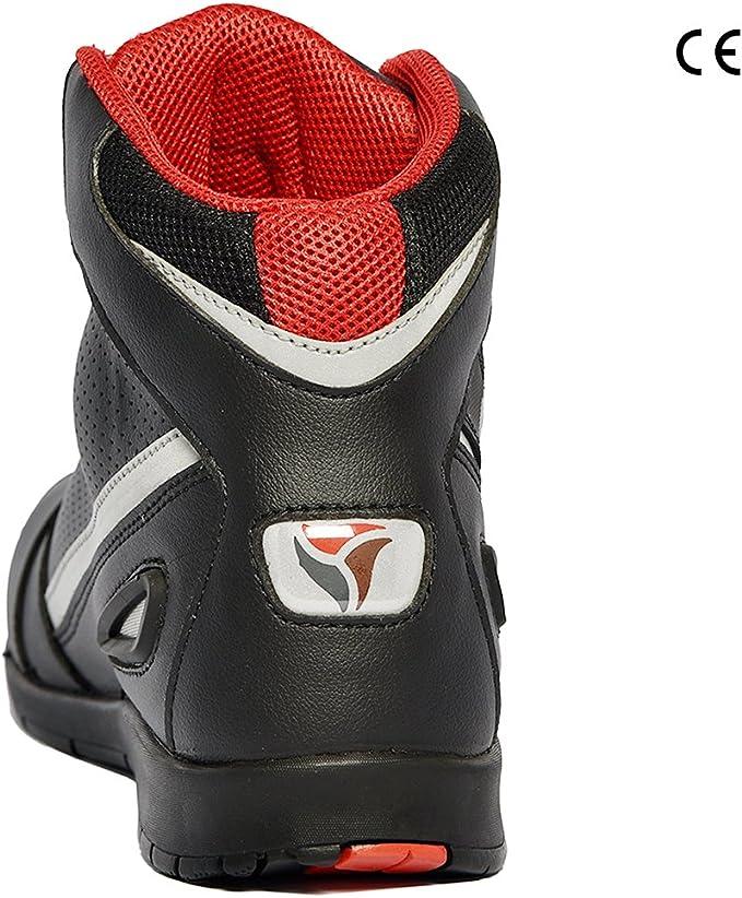 Zapatillas de Moto para Hombre Botas de Moto de Piel de Vacuno Zapatillas de Carreras de Motos antirreflejos de Verano Transpirables EU 43 Negro