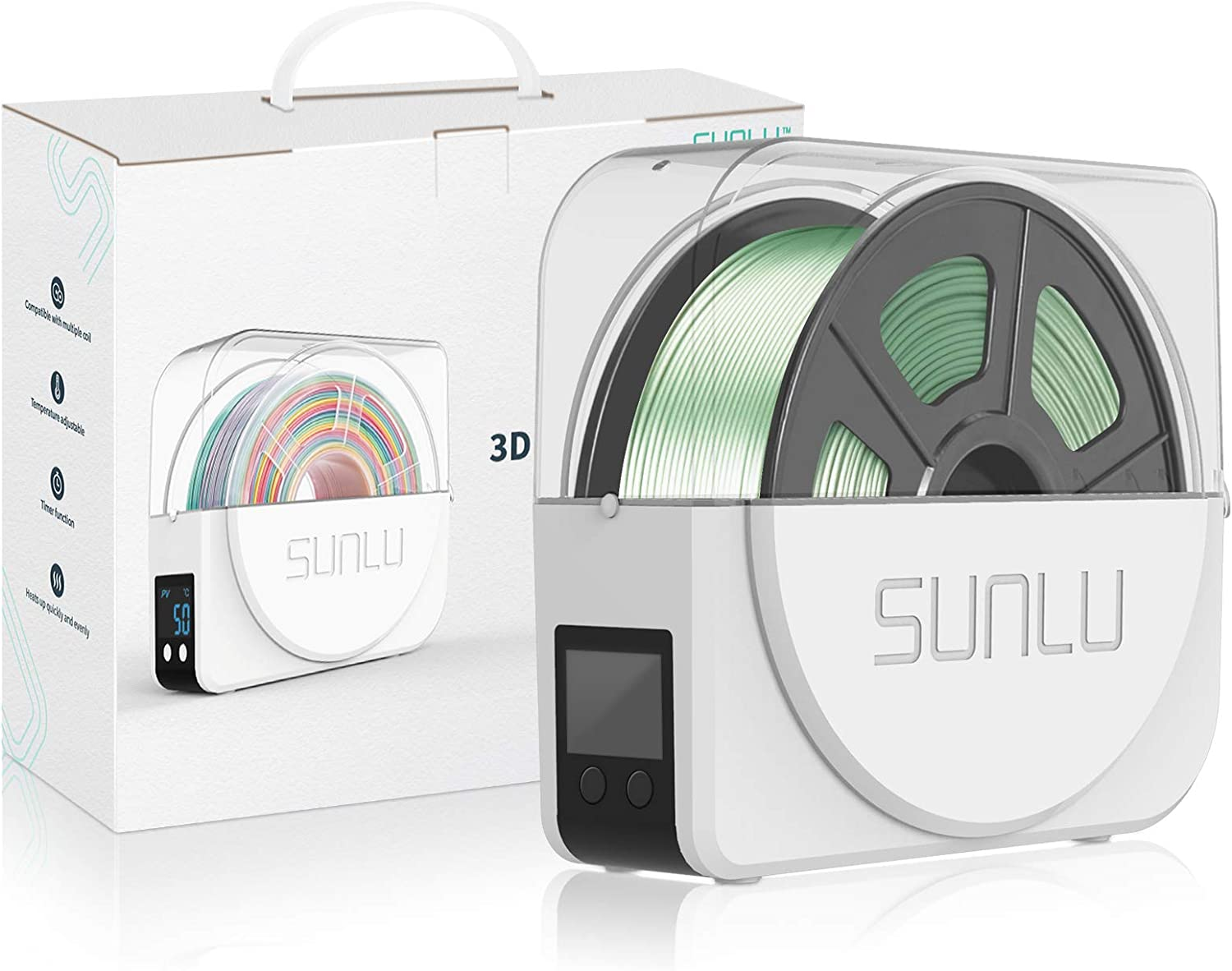3D Printer Filament Dryer Box from SUNLU, Keep Filament Dry During 3D Printing,Compatible with 1.75mm, 2.85mm, 3.00mm Filament,Filament Holder
