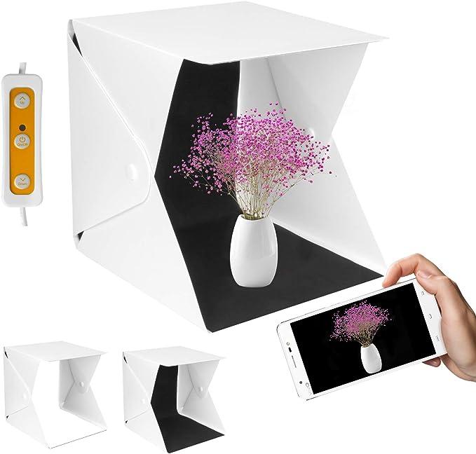 Yorbay Mini Caja de Luz Fotografía 22x23x24cm Plegable fotográfico ...