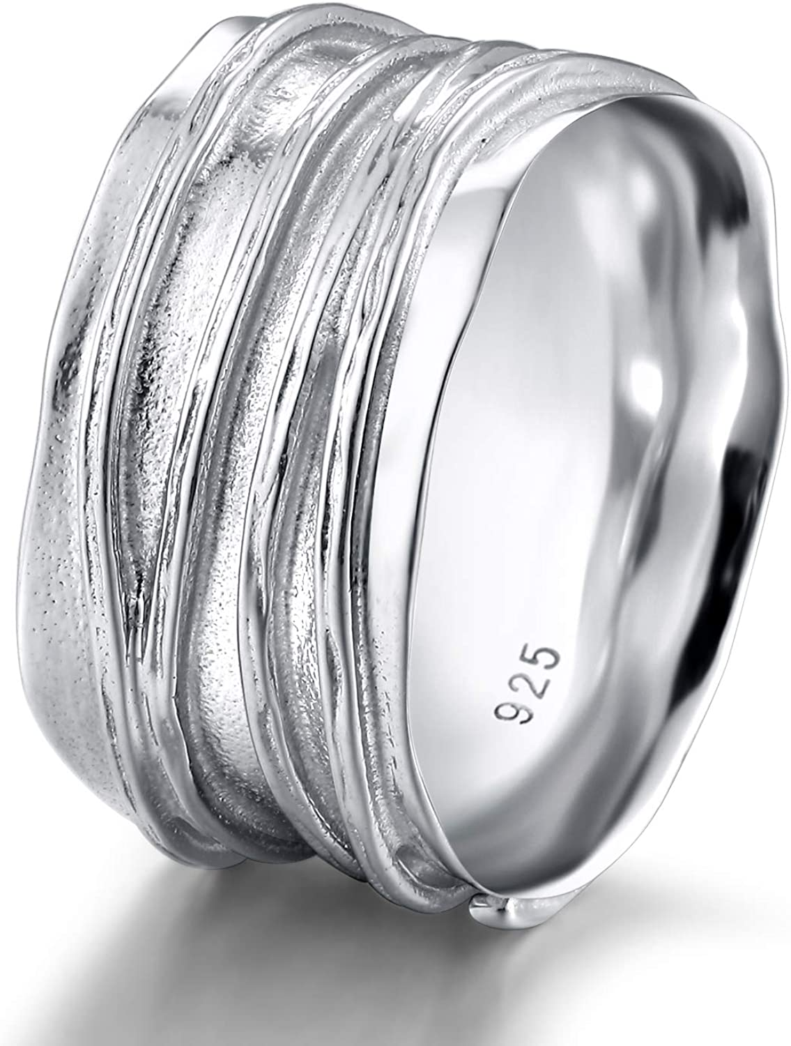 SOMEN TUNGSTEN 10mm Wide Band Ring 925 Sterling Silver Ripple Thumb Ring for Men Women Size5-12