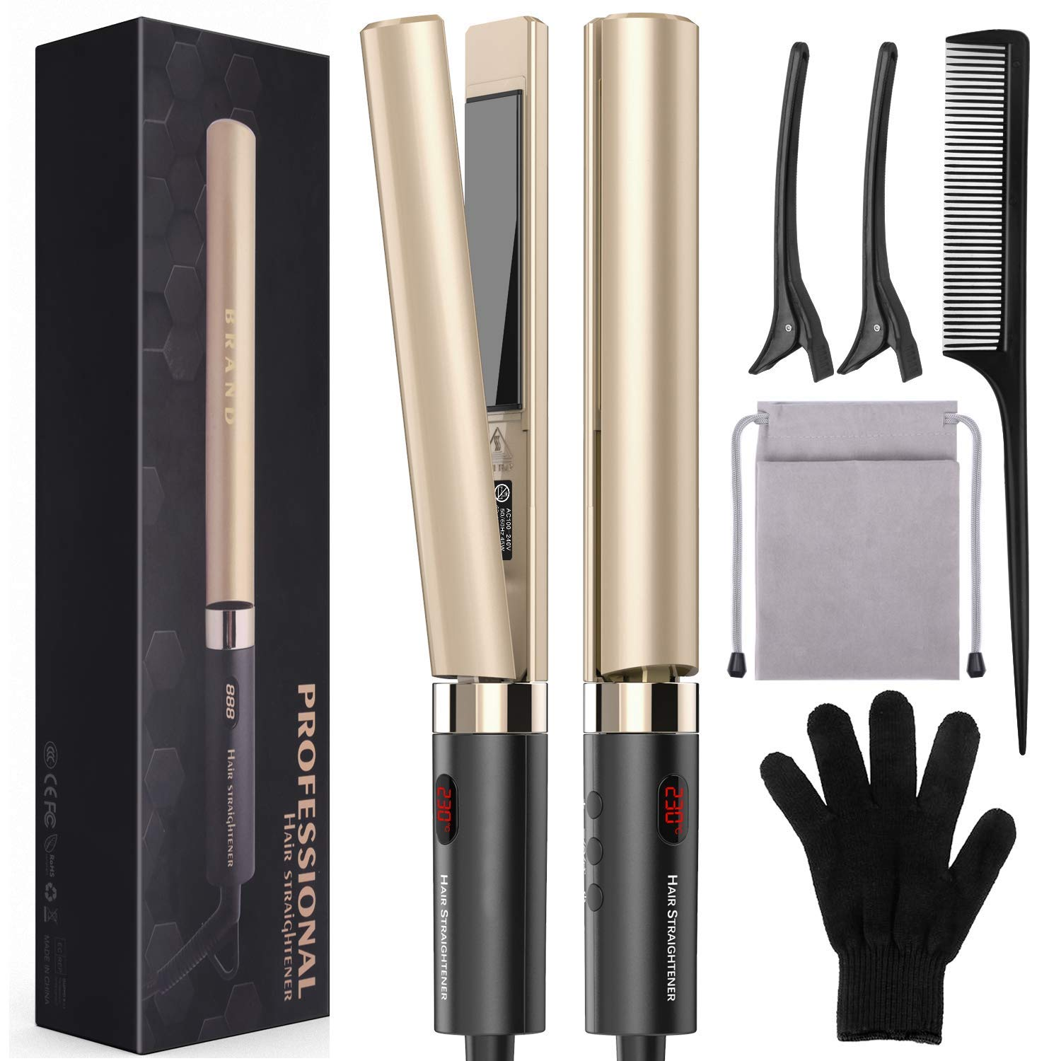 Flat Iron for Hair, Professional Hair Straightener Styling 2 in 1 Tourmaline Ceramic Flat Iron for All Hair Types with Dual Voltage LED Display Adjustable Temperature and Salon High Heat 248-446