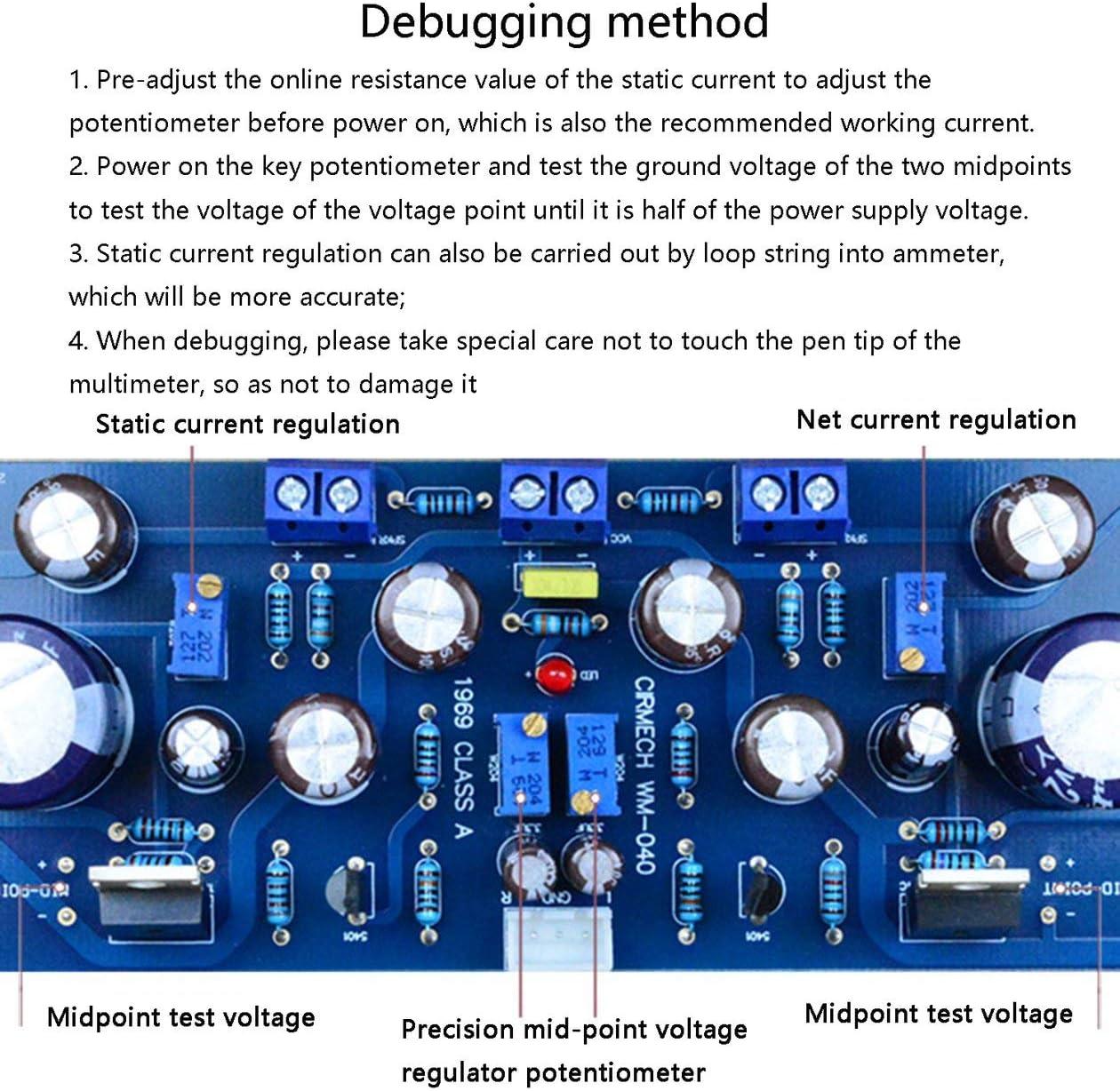 Hood 1969 NPN 2.0 Channel Class A Amplifier Board and Heatsinks Module 50W DIY Kit Finished Product Blue