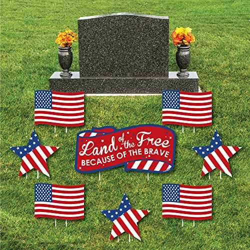 Patriotic - Yard Sign & Outdoor Lawn Cemetery Grave Decorations - Labor Day Patriotic Yard Signs - Set of 8 ()