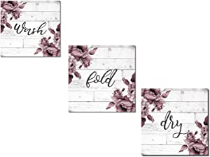 "Beautiful Burgundy and Grey Floral ""Wash"" ""Dry"" and ""Fold"" Set; Perfect for the Laundry Room!; Three 12x12in Unframed Paper Posters (Printed On Paper, Not Wood)"