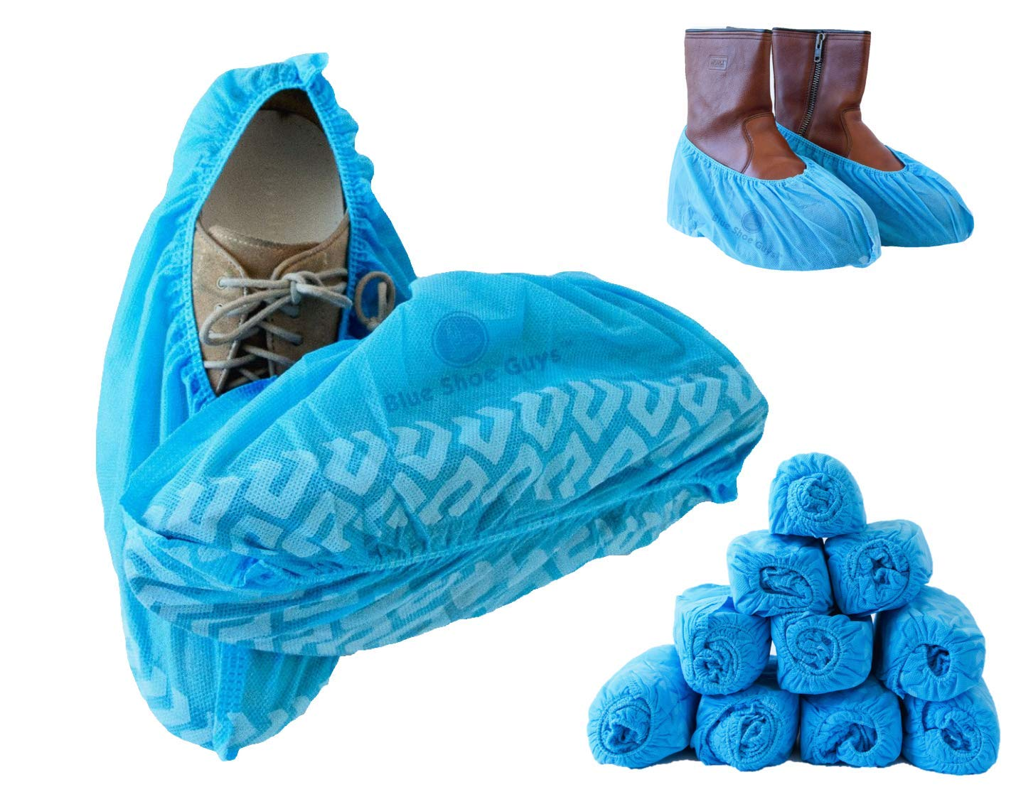 Blue Shoe Guys Premium Boot & Shoe Covers Disposable, 100 Pack   Non Slip Foot Booties, Water Resistant, Indoor/Outdoor, Protects Carpets/Floors   Large Size Fits Most (upto US Men 11.5 Women 12.5) by Blue Shoe Guys