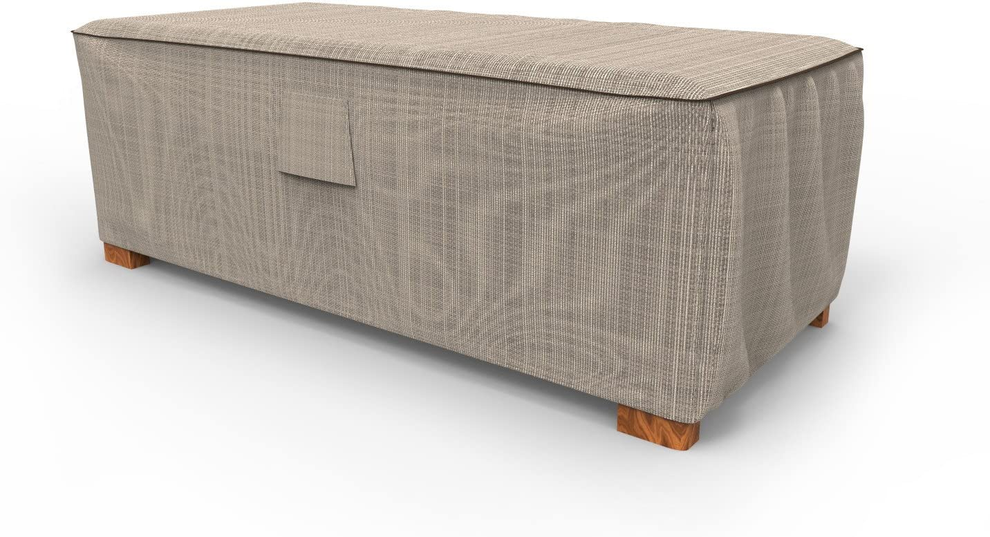Budge P4A04PM1 English Garden Slim Patio Ottoman/Coffee Table Cover Heavy Duty and Waterproof, Large, Two-Tone Tan
