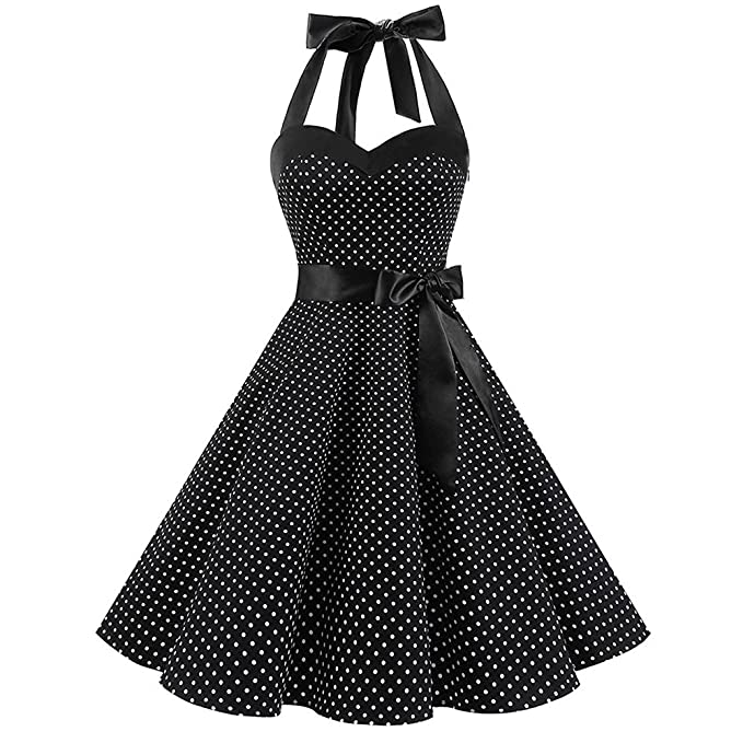vintage dot printing 1950 vintage dresses for women sleeveless 1950s Clothing for Girls vintage dot printing 1950 vintage dresses for women sleeveless bandage evening party swing dress at amazon women s clothing store
