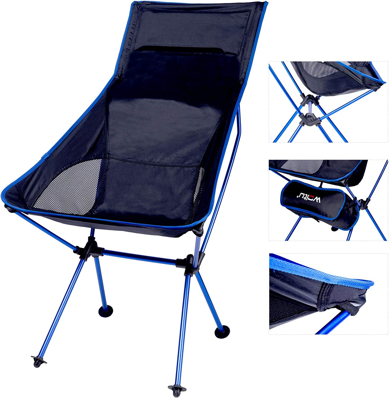 WOLTU Silla de Camping Silla Plegable Ultraligera y Portátil con Bolsa de Transporte, Silla para Acampar Fácil Transporte, para Playa,Pesca y Acampada ...