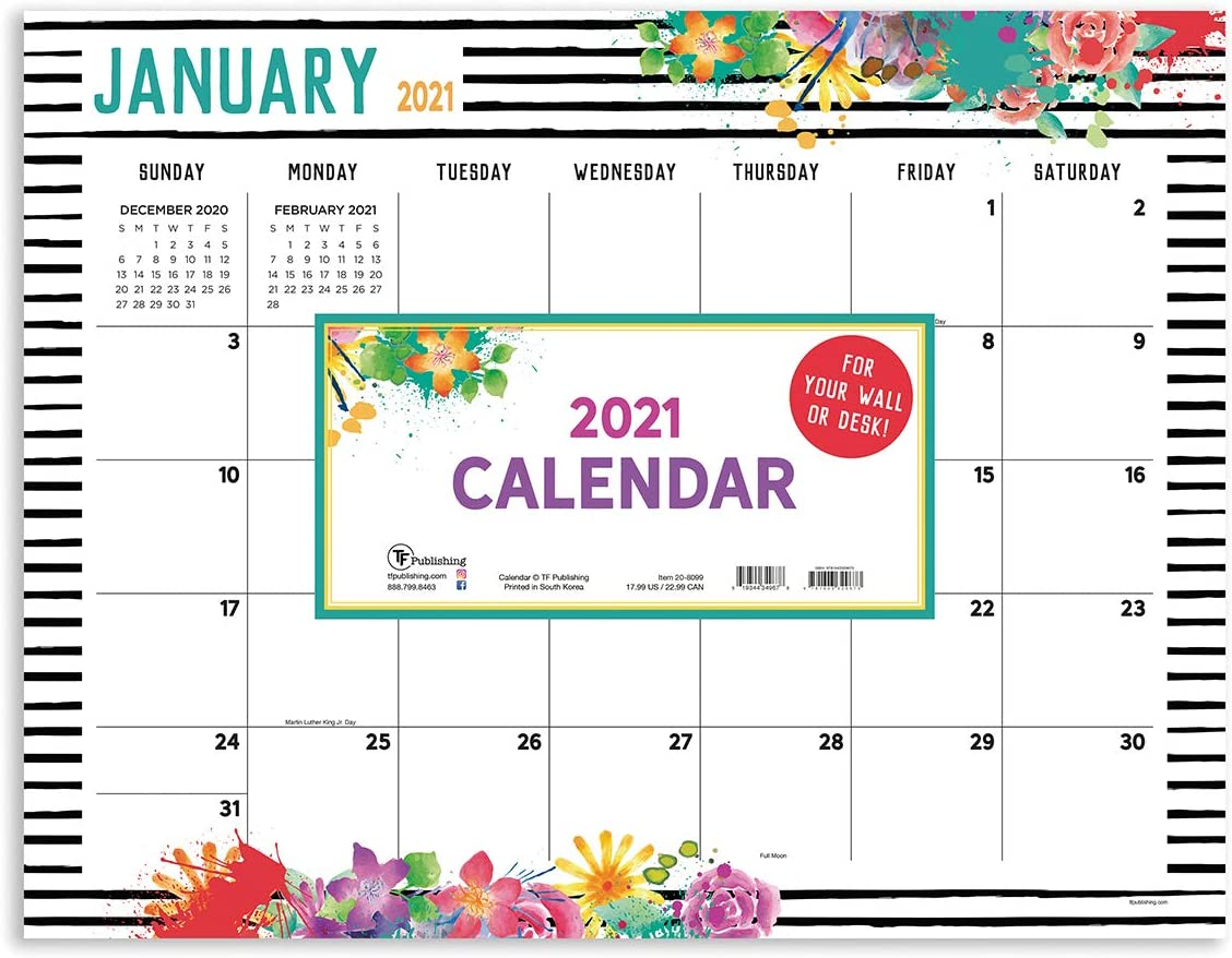 "TF PUBLISHING 2021 Floral Desk Pad Monthly Blotter Calendar - Appointment, Academic, Notes, Holiday Tracker - Home or Office Planning and Organization - Thick Uncoated Paper 17""x22"""